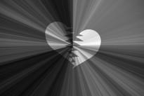 black valentine background, black and white starburst with heart