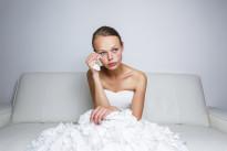 Sad bride crying