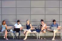 Students internet computer addiction sitting bench