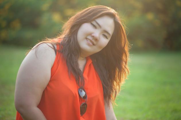 Close up of happy fatty woman