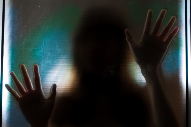 Woman shadow behind translucent mirror.