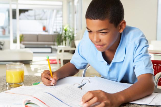 Boy Doing Homework In Kitchen